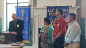 Will Crady was inducted into the East Cooper Breakfast Rotary Club April 26, 2016.